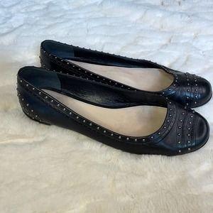 Prada Leather Studdent Accent Black Ballet Flats